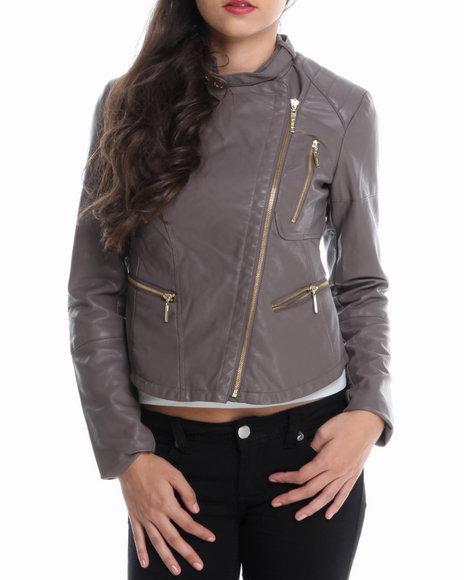KENSIE Tan Asymmetrical Zip Trim Vegan Leather Moto Jacket