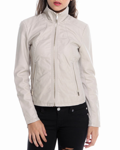 Kenneth Cole - Women Light Grey Zip Front Vegan Leather Jacket