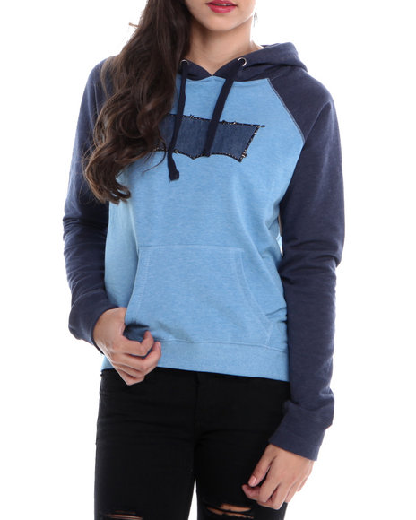 Levi's Blue,Grey Pullover Hoodie Hi-Lo Fleece