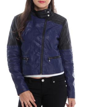 KENSIE - Colorblock Quilted Moto Vegan Leather Jacket