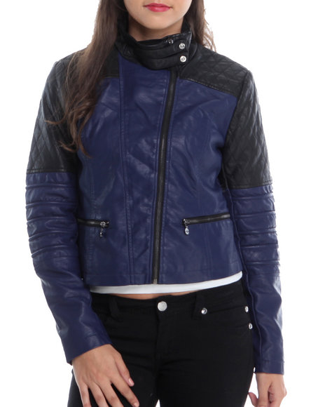 Kensie - Women Black,Blue Colorblock Quilted Moto Vegan Leather Jacket