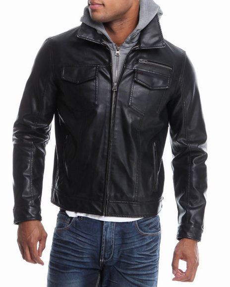 Levi's Black Vintage Faux Leather Hooded Jacket