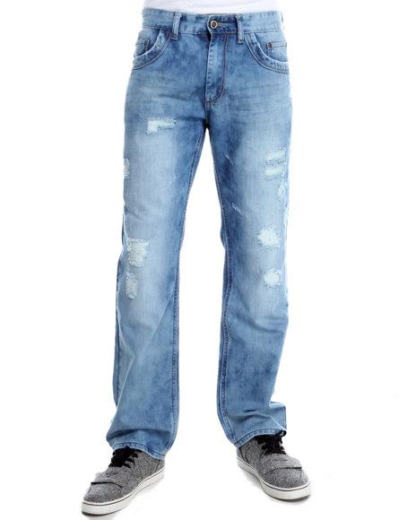 Basic Essentials - Men Medium Wash Xray Tint Rips Denim Jeans - $33.99