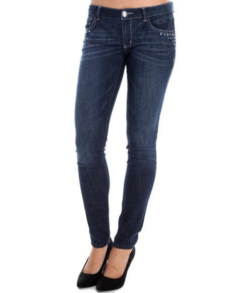 JOLT Dark Wash Pearl Accents Skinny Jean