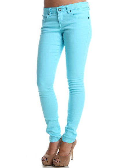 Volcom - Women Teal Sound Check Super Skinny Jeans