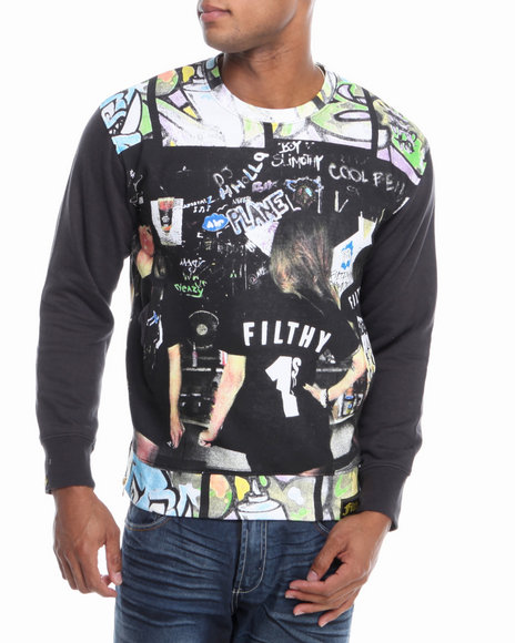 Filthy Dripped - Men Black Filthy Wall Crew Sweater