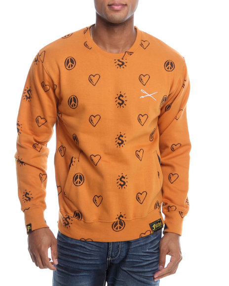 Filthy Dripped - Men Brown Peace Love Crew Sweatshirt