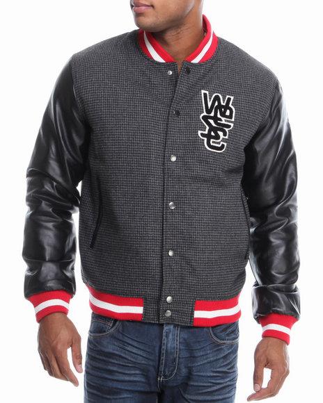 WESC Black Houndstooth/Leather Sleeve Varsity Jacket