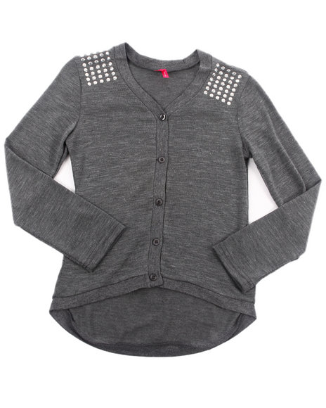 La Galleria Girls Charcoal Studded Shoulder Cardigan (7-16)