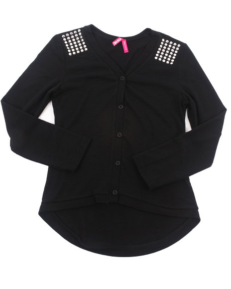La Galleria Girls Black Studded Shoulder Cardigan (7-16)
