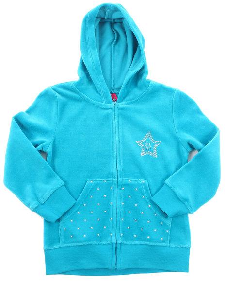 La Galleria - Girls Teal Velour Jacket (2T-4T)