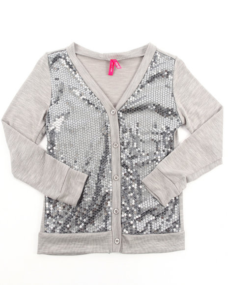 La Galleria Girls Grey Sequin Cardigan (7-16)
