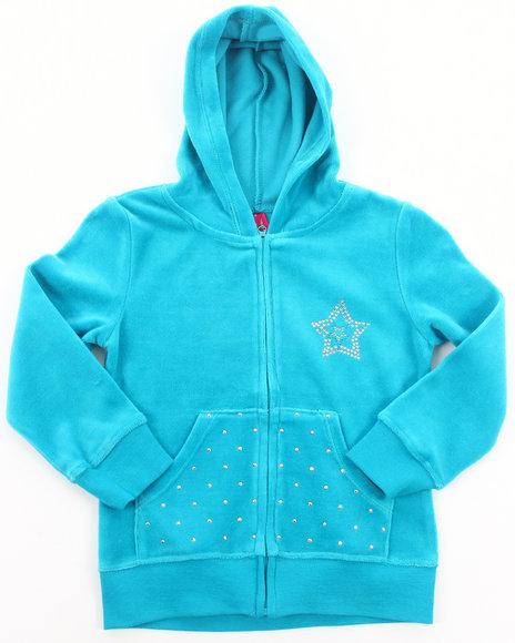 La Galleria - Girls Teal Velour Jacket (4-6X)