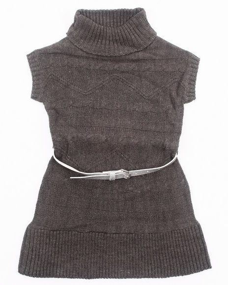 La Galleria - Girls Charcoal Belted Cable Sweater Dress (4-6X)