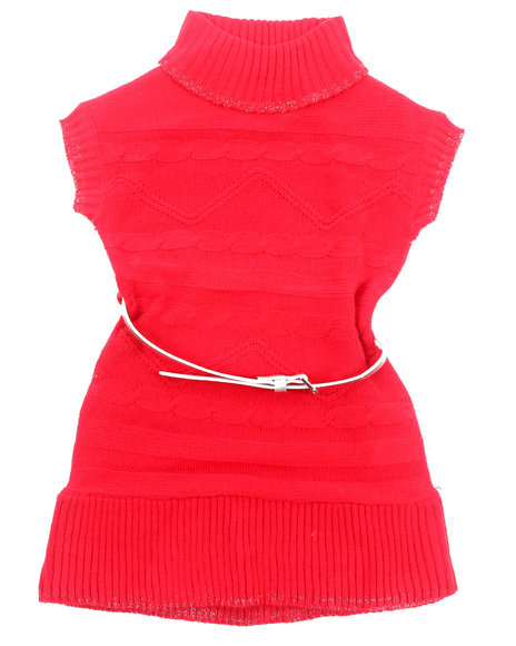 La Galleria - Girls Red Belted Cable Sweater Dress (4-6X) - $10.99
