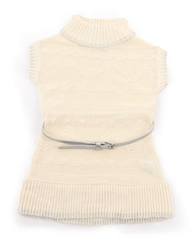 La Galleria - BELTED CABLE SWEATER DRESS (2T-4T)