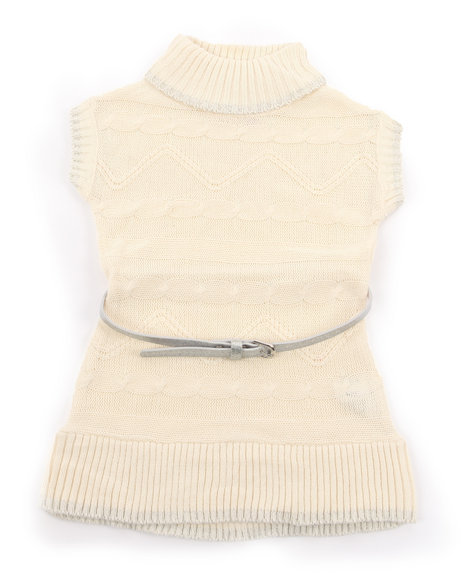 La Galleria - Girls Cream Belted Cable Sweater Dress (2T-4T)