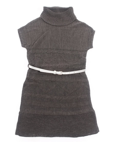 La Galleria Girls Charcoal Belted Cable Sweater Dress (7-16)