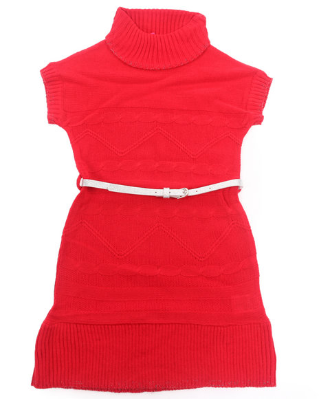 La Galleria - Girls Red Belted Cable Sweater Dress (7-16) - $11.99
