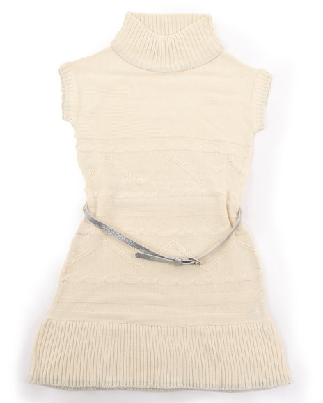 La Galleria - Girls Cream Belted Cable Sweater Dress (7-16)