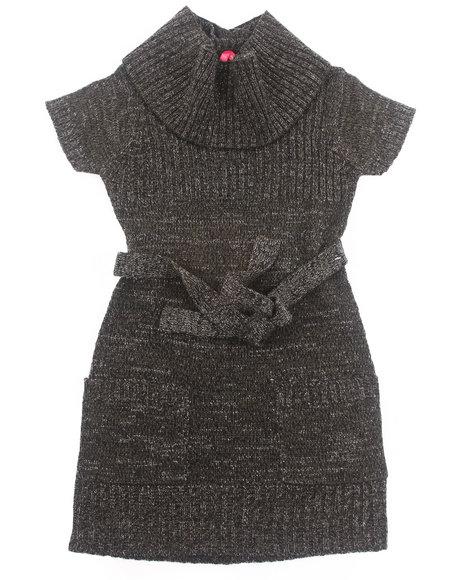 La Galleria - Girls Charcoal Lurex Cowl Neck Sweater Dress (7-16)