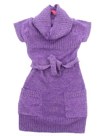 la galleria girls cowl neck striped sweater dress 716 purple