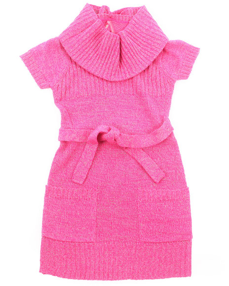 La Galleria Girls Pink Lurex Cowl Neck Sweater Dress (7-16)
