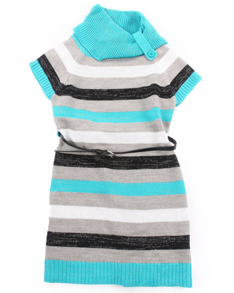 La Galleria Girls Blue Striped Sweater Dress (7-16)