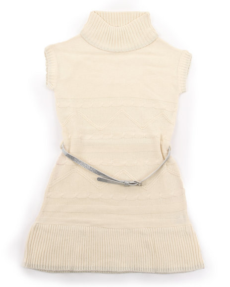 La Galleria - Girls Cream Belted Cable Sweater Dress (4-6X)
