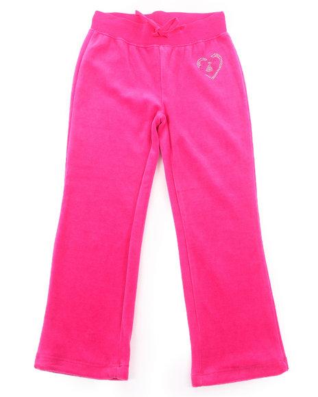 La Galleria - Girls Pink Velour Pants (4-6X)