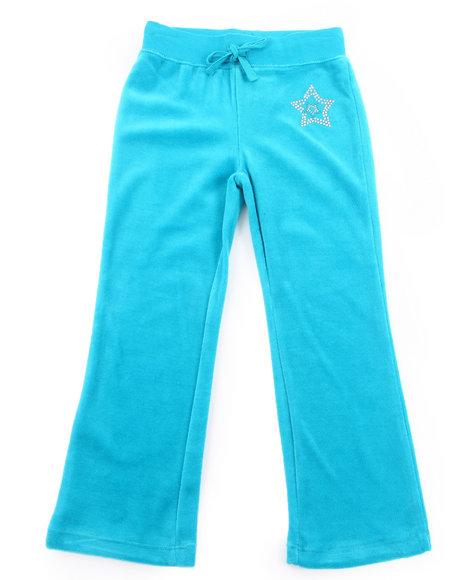 La Galleria - Girls Teal Velour Pants (4-6X)