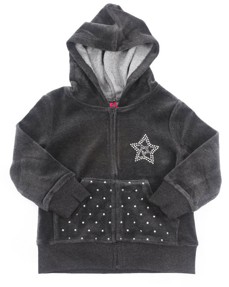 La Galleria - Girls Charcoal Velour Jacket (4-6X)