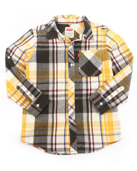 Levi's Boys Yellow Roll Sleeve Plaid Flannel Woven (8-20)