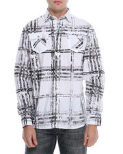 Pelle Pelle - Distressed Plaid Roll Up Button Down Shirt