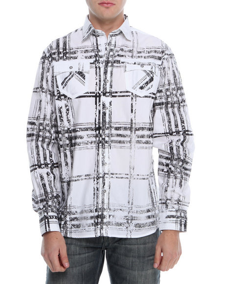 Pelle Pelle - Men White Distressed Plaid Roll Up Button Down Shirt - $30.99