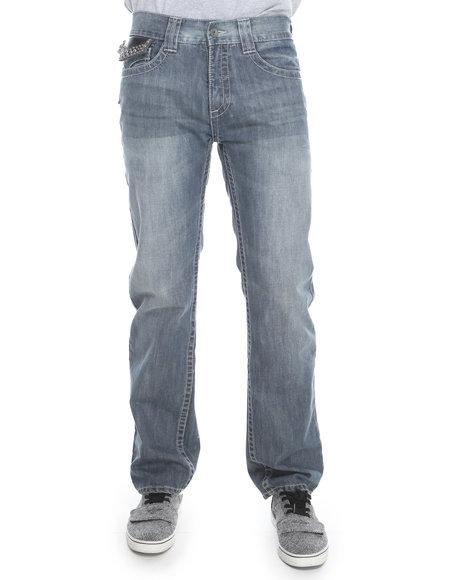 Pelle Pelle By Marc Buchanan - Men Dark Wash Marc Buchanan Leather Flap Back Pocket Denim Jeans