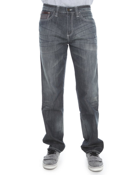 Pelle Pelle - Men Vintage Wash Dart Pocket Ghost Wash Denim Jeans - $34.99