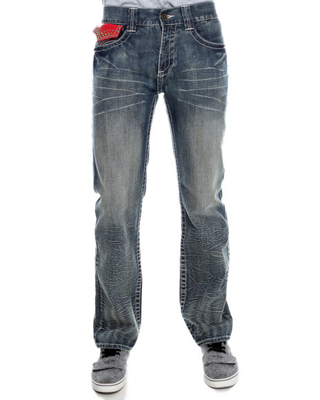 Pelle Pelle By Marc Buchanan - Men Dark Wash Marc Buchanan Leather Flap Back Pocket Denim Jeans