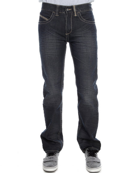Pelle Pelle - Men Dark Wash Indigo Wash Boot Stitch Denim Jeans