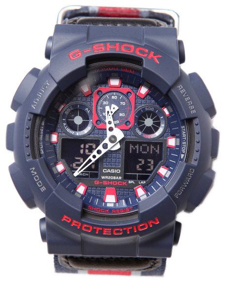 G-Shock By Casio Men Ga-100Mc Cloth Band Watch Blue 1SZ