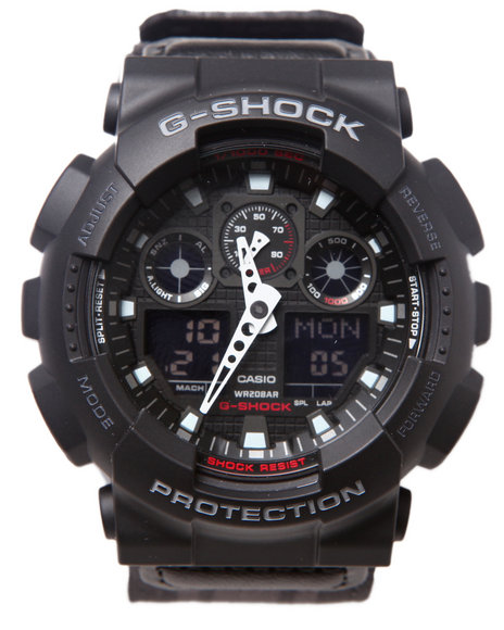 G-Shock By Casio Men Ga-100Mc Cloth Band Watch Black 1SZ