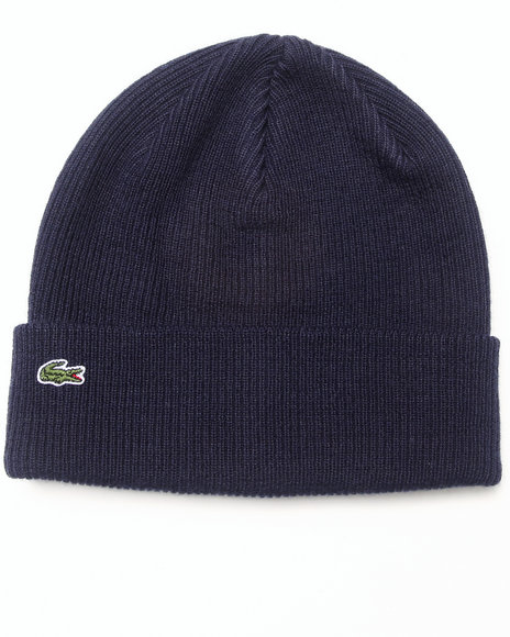 Lacoste Live L!Ve Merino Wool Ribbed Knit Beanie Navy