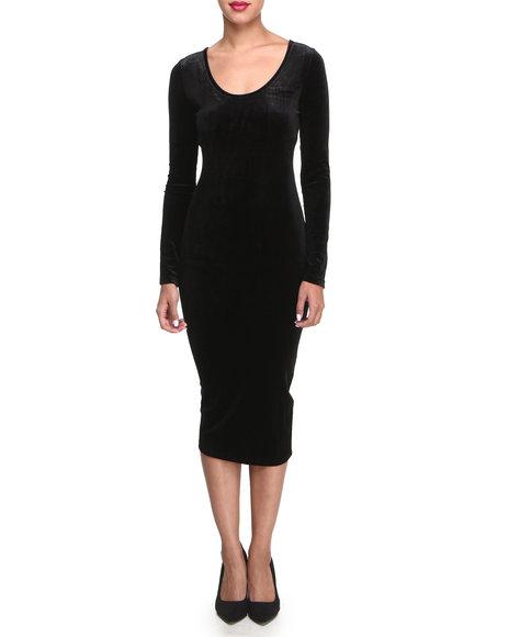 Glamorous - Women Black Velvet Midi Dress