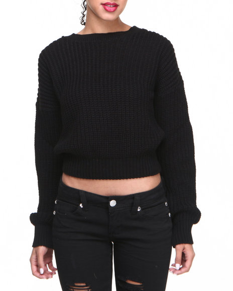 Glamorous Women Cropped Sweater Black 14 UK   L