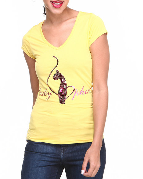 Baby Phat - Women Yellow V-Neck Sequin Core Tee