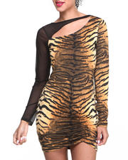 Women - Tiger Print Mesh Sleeve Dress