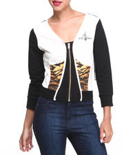 Women - Tiger Trim Colorblock Cropped Active Jacket