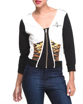 Baby Phat - Tiger Trim Colorblock Cropped Active Jacket