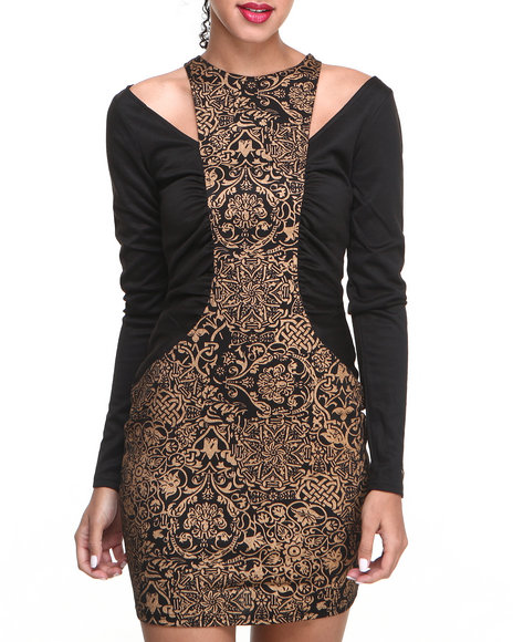 Baby Phat - Metallic Print Front Back Zip Dress