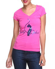 Women - V-Neck Sequin Core Tee